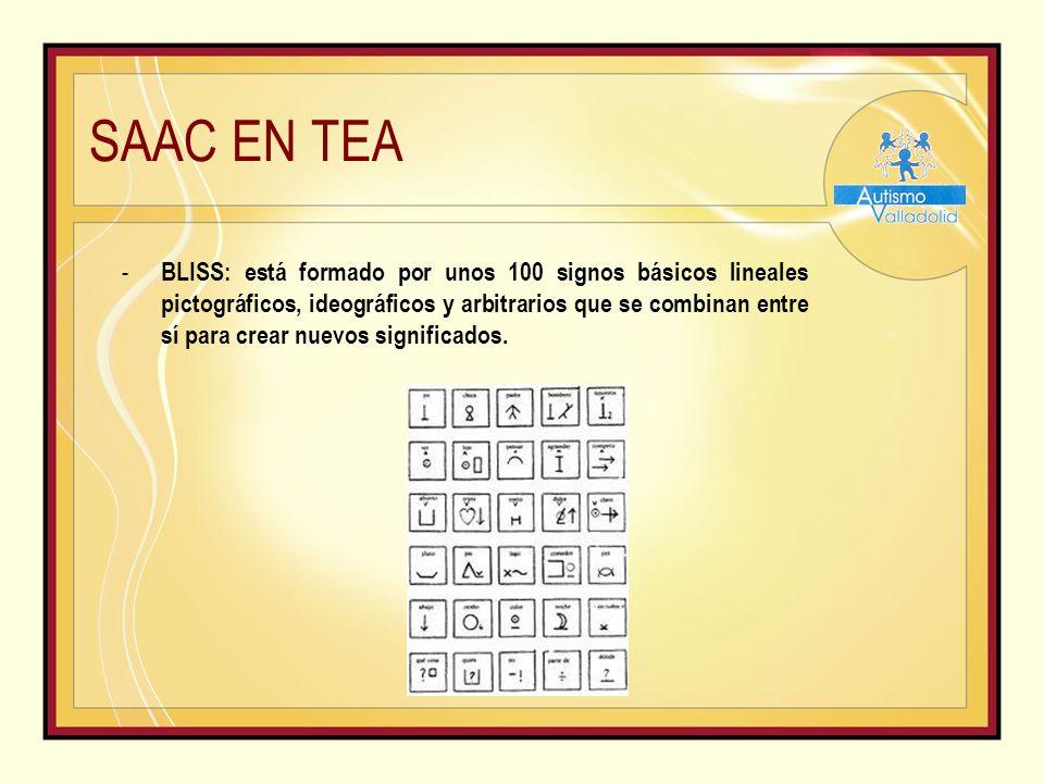 SAAC EN TEA - BLISS: está formado por unos 100 signos básicos lineales pictográficos, ideográficos y arbitrarios que se combinan entre sí para crear nuevos significados.