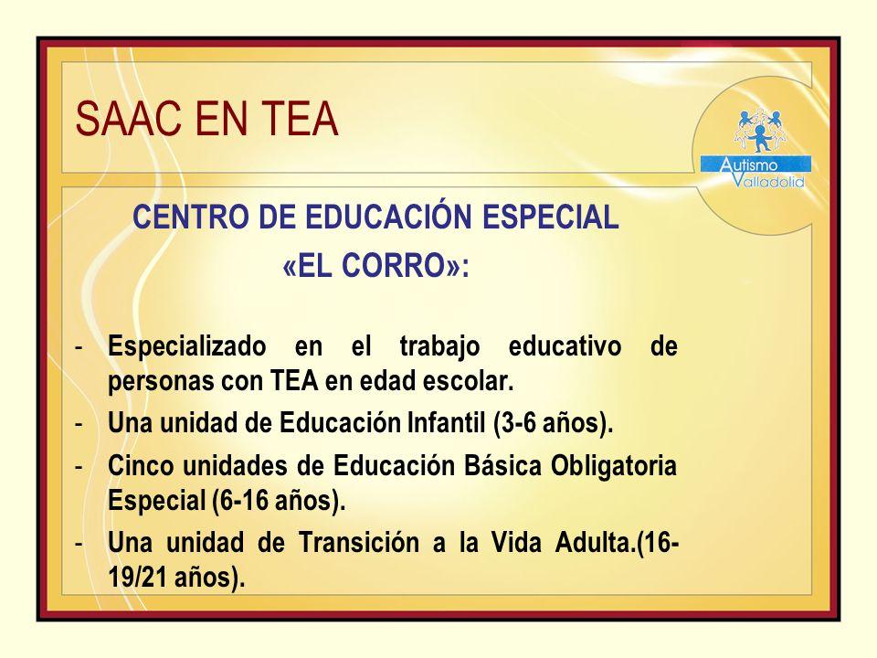 SAAC EN TEA CENTRO DE EDUCACIÓN ESPECIAL «EL CORRO»: - Especializado en el trabajo educativo de personas con TEA en edad escolar.