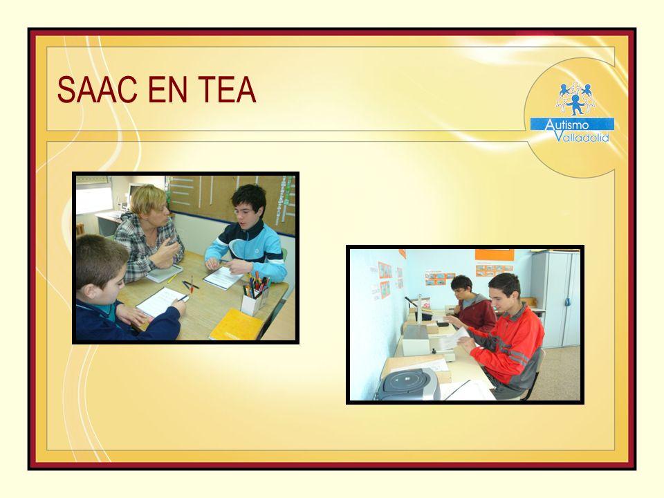 SAAC EN TEA http://peapo.iespana.es http://www.vocaliza.es/ http://www.leoloqueveo.org http://materialdeisaac.blogspot.com.es/2012/03/pictogramas- donde-encontrarlos.html PROGRAMAS DE PICTOGRAMAS - Boardmaker - Hola Amigo - Picto Selector