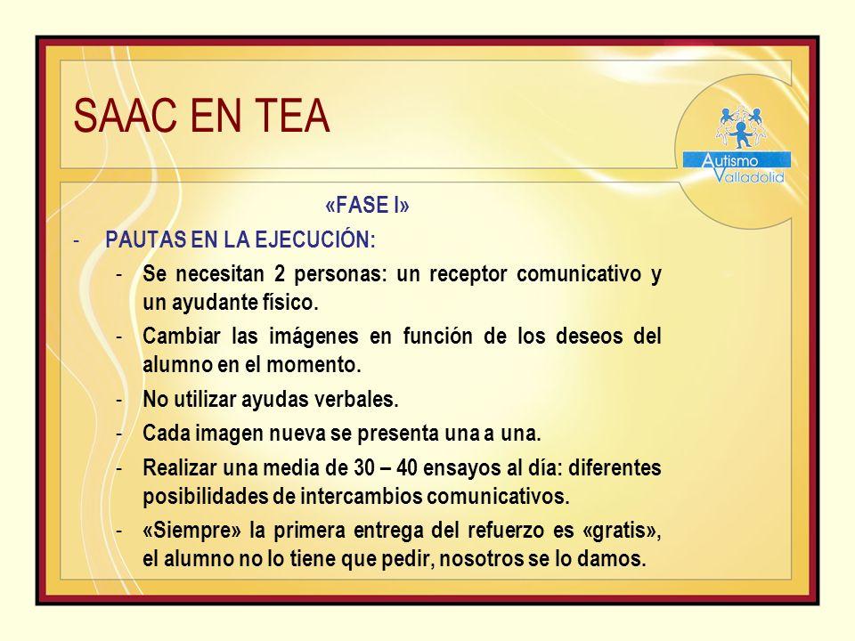 SAAC EN TEA «FASE I» - PAUTAS EN LA EJECUCIÓN: - Se necesitan 2 personas: un receptor comunicativo y un ayudante físico.