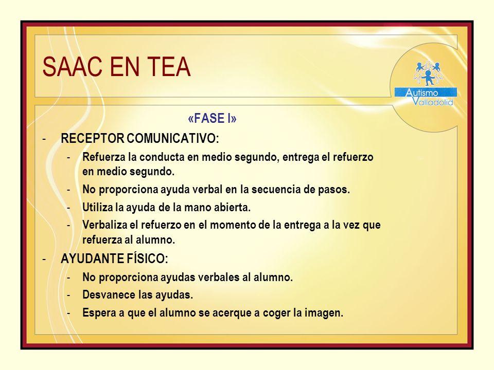 SAAC EN TEA «FASE I» - RECEPTOR COMUNICATIVO: - Refuerza la conducta en medio segundo, entrega el refuerzo en medio segundo.