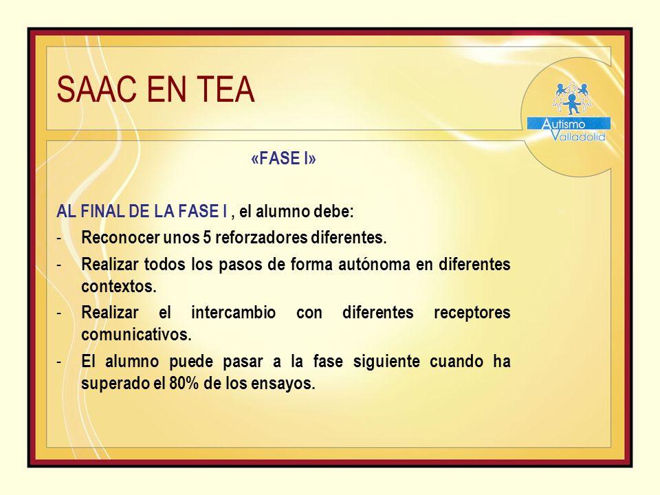 SAAC EN TEA «FASE I» AL FINAL DE LA FASE I, el alumno debe: - Reconocer unos 5 reforzadores diferentes.