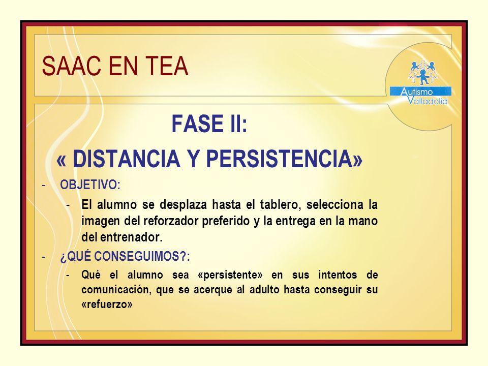 SAAC EN TEA FASE II: « DISTANCIA Y PERSISTENCIA» - OBJETIVO: - El alumno se desplaza hasta el tablero, selecciona la imagen del reforzador preferido y la entrega en la mano del entrenador.