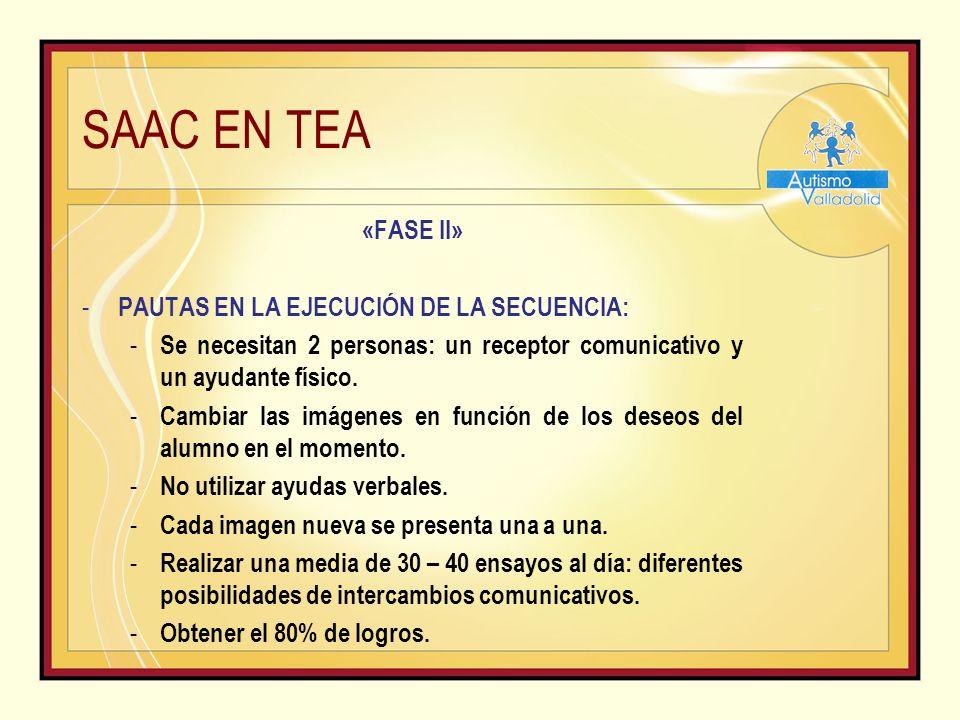 SAAC EN TEA «FASE II» - PAUTAS EN LA EJECUCIÓN DE LA SECUENCIA: - Se necesitan 2 personas: un receptor comunicativo y un ayudante físico.