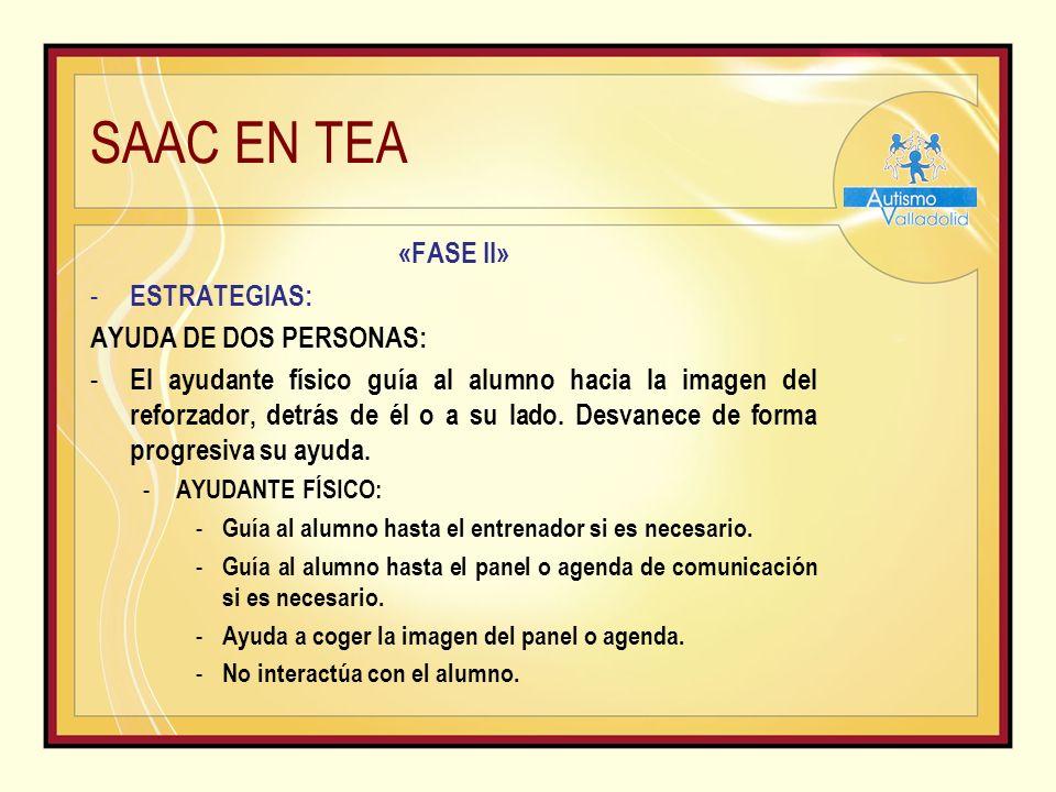 SAAC EN TEA «FASE II» - ESTRATEGIAS: AYUDA DE DOS PERSONAS: - El ayudante físico guía al alumno hacia la imagen del reforzador, detrás de él o a su lado.