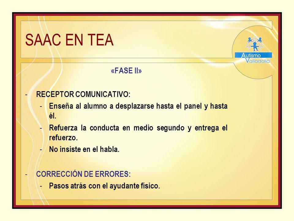 SAAC EN TEA «FASE II» - RECEPTOR COMUNICATIVO: - Enseña al alumno a desplazarse hasta el panel y hasta él.