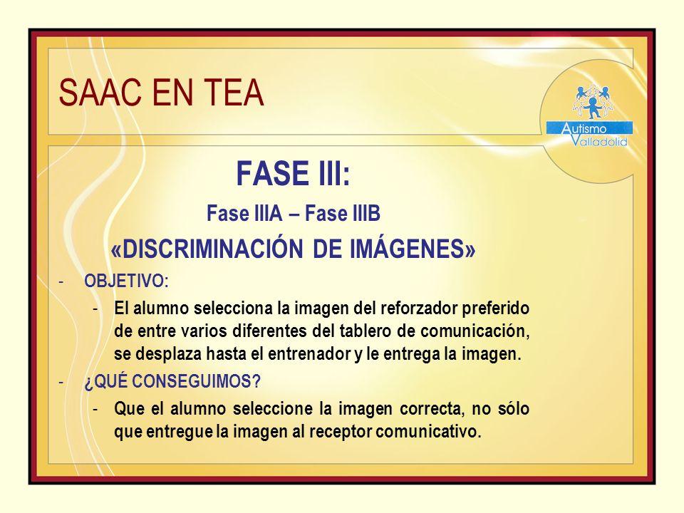 SAAC EN TEA FASE III: Fase IIIA – Fase IIIB «DISCRIMINACIÓN DE IMÁGENES» - OBJETIVO: - El alumno selecciona la imagen del reforzador preferido de entre varios diferentes del tablero de comunicación, se desplaza hasta el entrenador y le entrega la imagen.