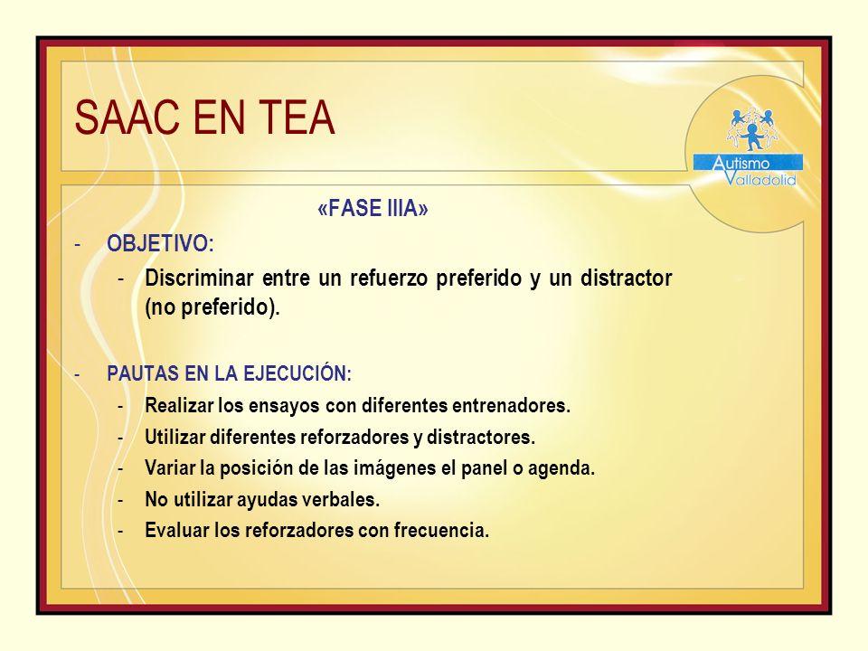 SAAC EN TEA «FASE IIIA» - OBJETIVO: - Discriminar entre un refuerzo preferido y un distractor (no preferido).