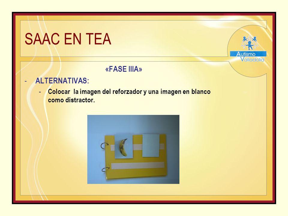 SAAC EN TEA «FASE IIIA» - ALTERNATIVAS: - Colocar la imagen del reforzador y una imagen en blanco como distractor.