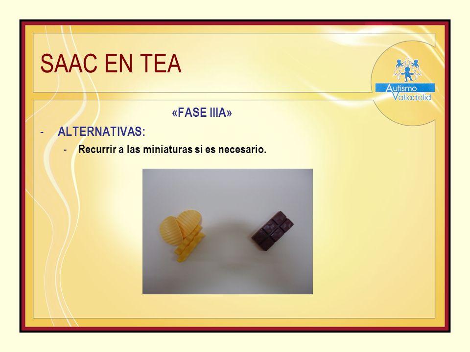 SAAC EN TEA «FASE IIIA» - ALTERNATIVAS: - Recurrir a las miniaturas si es necesario.
