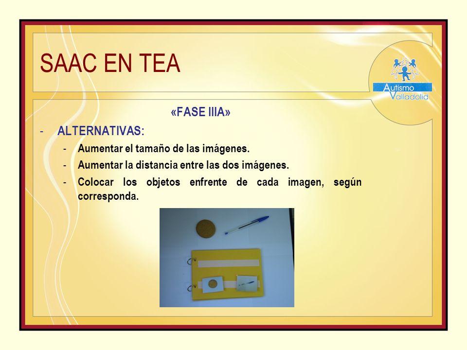 SAAC EN TEA «FASE IIIA» - ALTERNATIVAS: - Aumentar el tamaño de las imágenes.