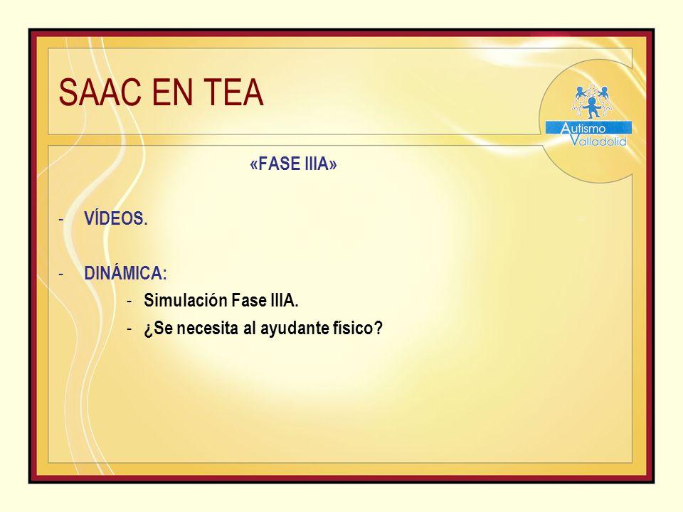 SAAC EN TEA «FASE IIIA» - VÍDEOS.- DINÁMICA: - Simulación Fase IIIA.