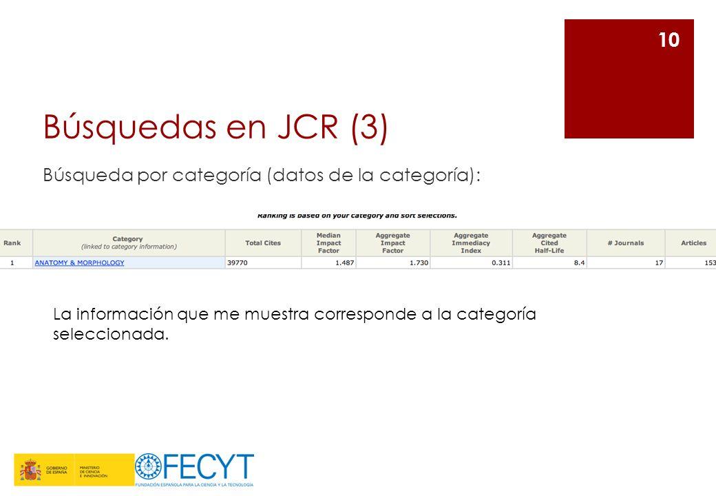 Búsquedas en JCR (3) Búsqueda por categoría (datos de la categoría): 10 La información que me muestra corresponde a la categoría seleccionada.