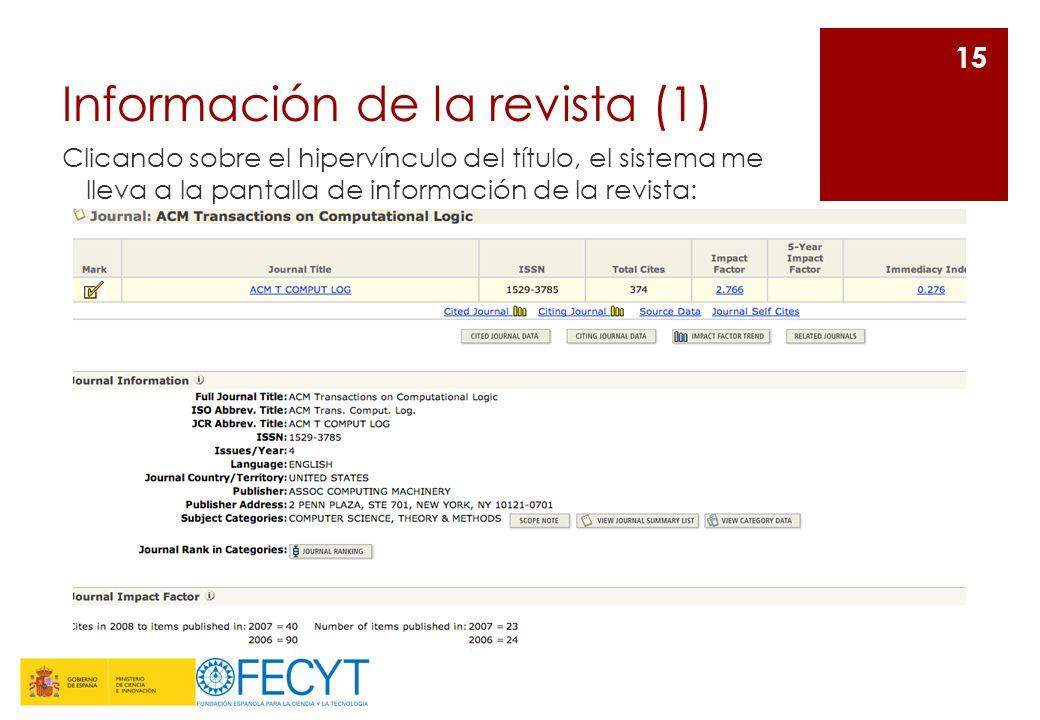 Información de la revista (1) Clicando sobre el hipervínculo del título, el sistema me lleva a la pantalla de información de la revista: 15