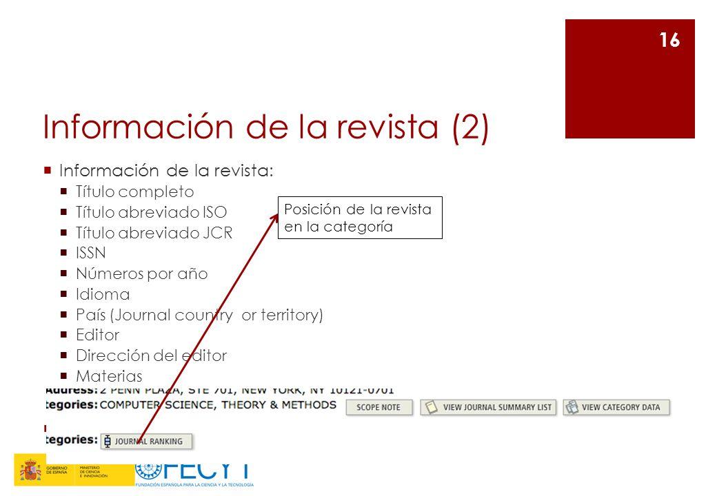 Información de la revista (2) Información de la revista: Título completo Título abreviado ISO Título abreviado JCR ISSN Números por año Idioma País (J