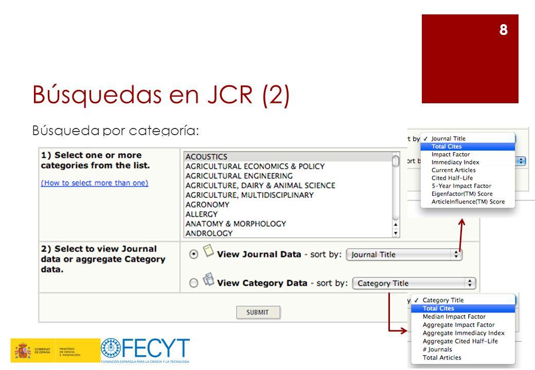 Búsquedas en JCR (3) Búsqueda por categoría (datos de la revista): 9