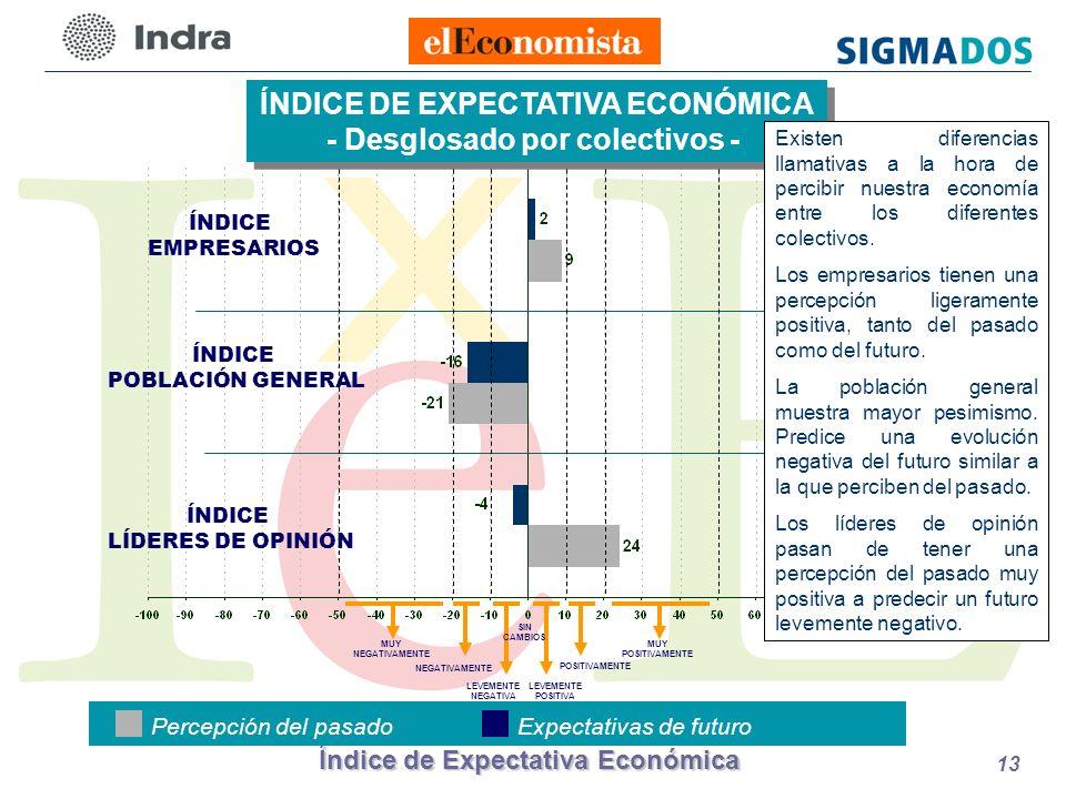 Índice de Expectativa Económica 13 ÍNDICE POBLACIÓN GENERAL ÍNDICE EMPRESARIOS ÍNDICE DE EXPECTATIVA ECONÓMICA - Desglosado por colectivos - ÍNDICE DE EXPECTATIVA ECONÓMICA - Desglosado por colectivos - ÍNDICE LÍDERES DE OPINIÓN Percepción del pasadoExpectativas de futuro LEVEMENTE POSITIVA POSITIVAMENTE LEVEMENTE NEGATIVA NEGATIVAMENTE MUY NEGATIVAMENTE MUY POSITIVAMENTE SIN CAMBIOS Existen diferencias llamativas a la hora de percibir nuestra economía entre los diferentes colectivos.