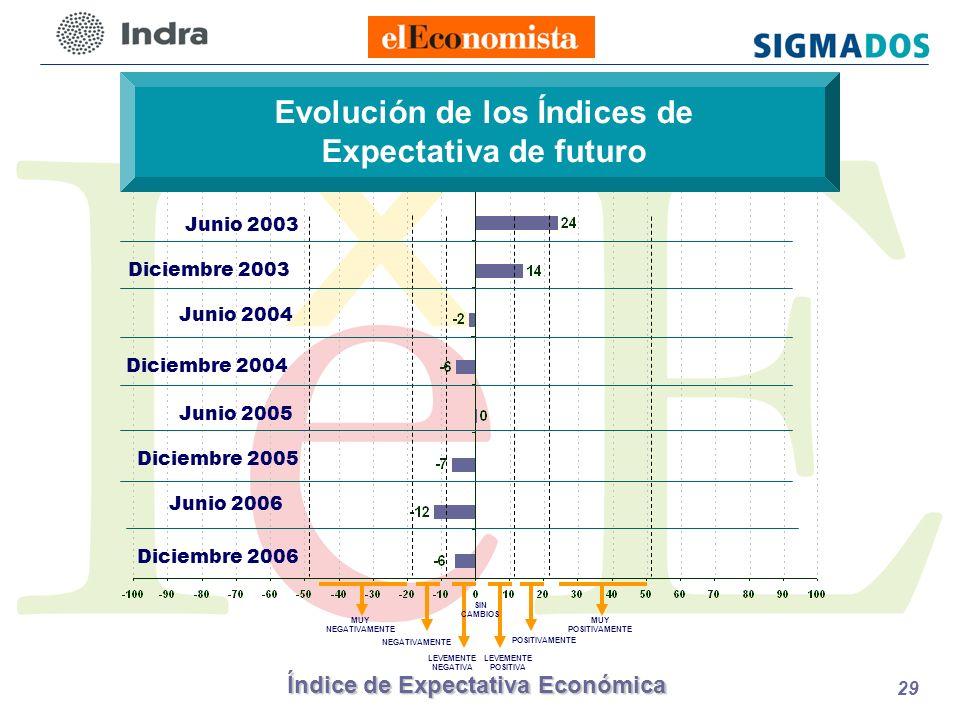 Índice de Expectativa Económica 29 Evolución de los Índices de Expectativa de futuro LEVEMENTE POSITIVA POSITIVAMENTE LEVEMENTE NEGATIVA NEGATIVAMENTE MUY NEGATIVAMENTE SIN CAMBIOS MUY POSITIVAMENTE Junio 2003 Diciembre 2003 Junio 2004 Diciembre 2004 Junio 2005 Junio 2006 Diciembre 2005 Diciembre 2006