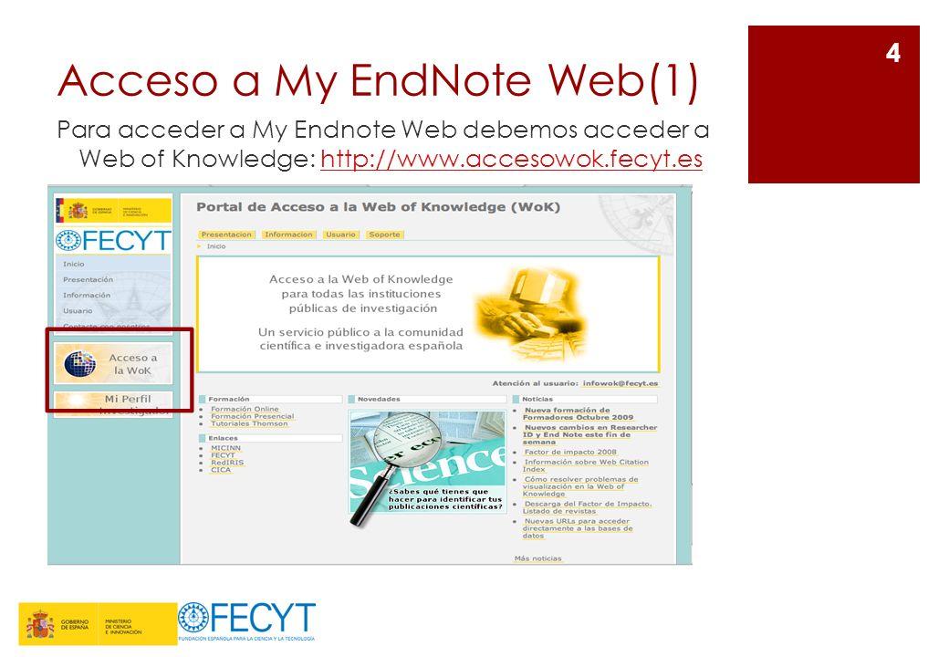 Format (1) Permite utilizar varias opciones de formato para sus referencias de EndNote Web.