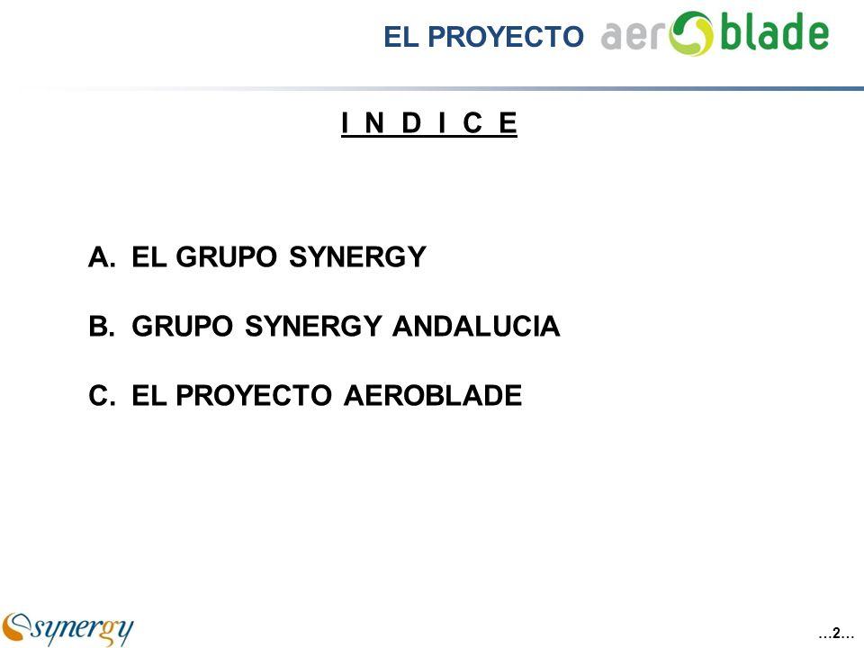 ILG + Directivos Caja Castilla La Mancha Banco Espirito Santo EBN ISOLUXLESEPAIR 29 % 100 % 15 %11 % SINERGY AERNNOVAAEROBLADEORISOL 23 % 90 %88 % ( AERONAUTICA )( PALAS EOLICAS )( RENOVABLES ) A.EL GRUPO SYNERGY …3… EL PROYECTO
