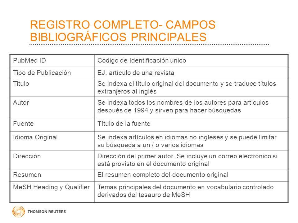 REGISTRO COMPLETO- CAMPOS BIBLIOGRÁFICOS PRINCIPALES PubMed IDCódigo de Identificación único Tipo de PublicaciónEJ.