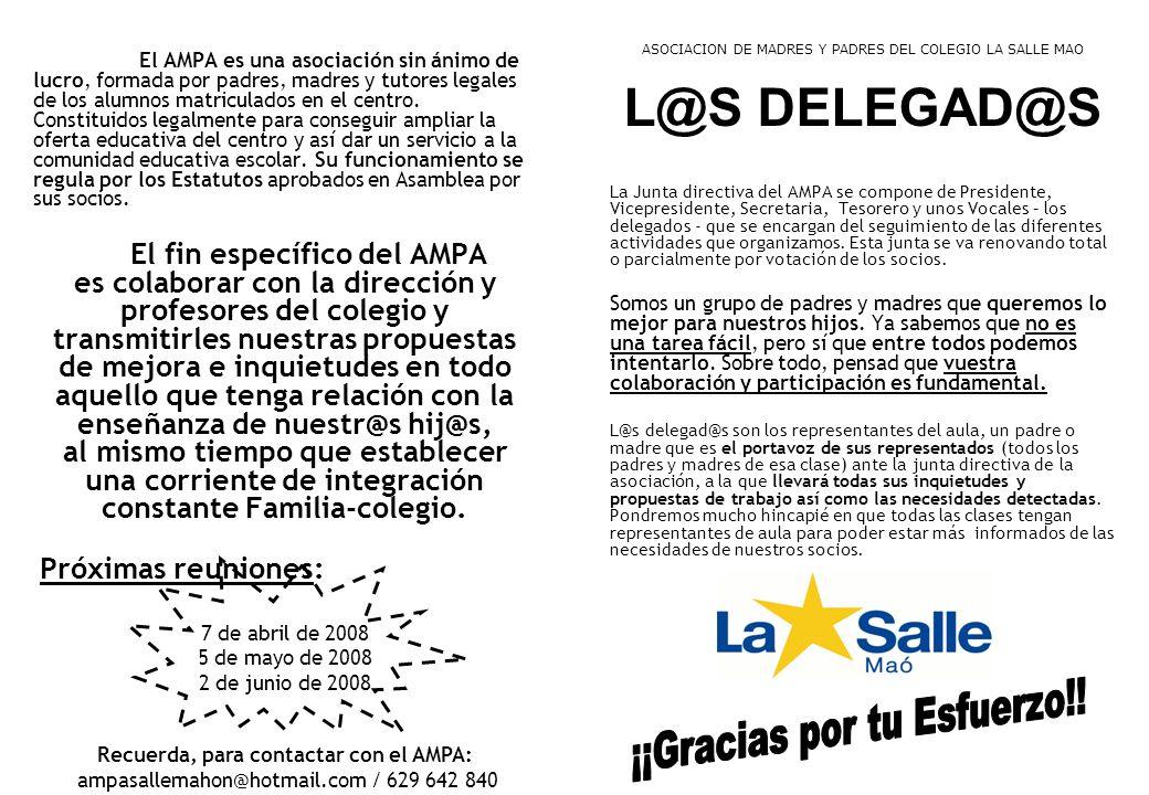 El AMPA es una asociación sin ánimo de lucro, formada por padres, madres y tutores legales de los alumnos matriculados en el centro. Constituidos lega