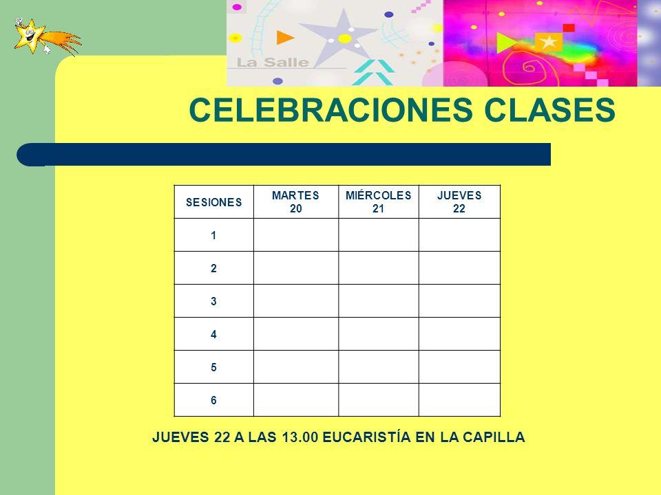 CELEBRACIONES CLASES SESIONES MARTES 20 MIÉRCOLES 21 JUEVES 22 1 2 3 4 5 6 JUEVES 22 A LAS 13.00 EUCARISTÍA EN LA CAPILLA