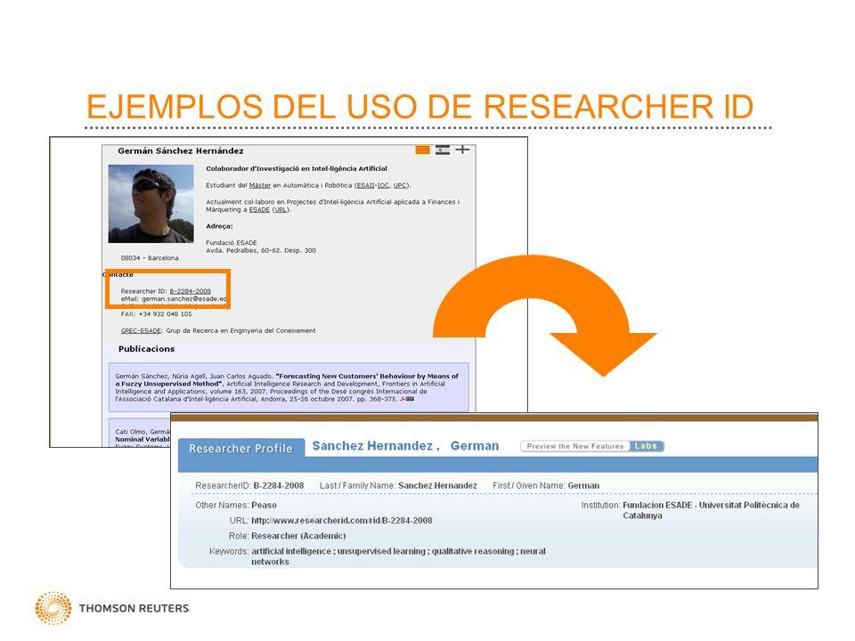 EJEMPLOS DEL USO DE RESEARCHER ID