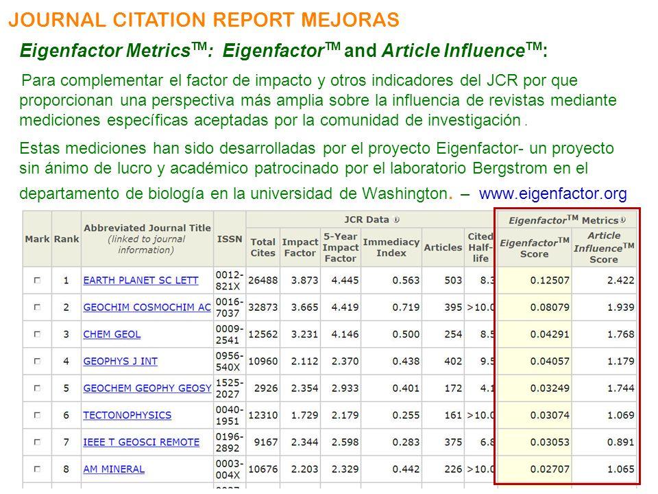 JOURNAL CITATION REPORT MEJORAS Eigenfactor Metrics TM : Eigenfactor TM and Article Influence TM : Para complementar el factor de impacto y otros indi