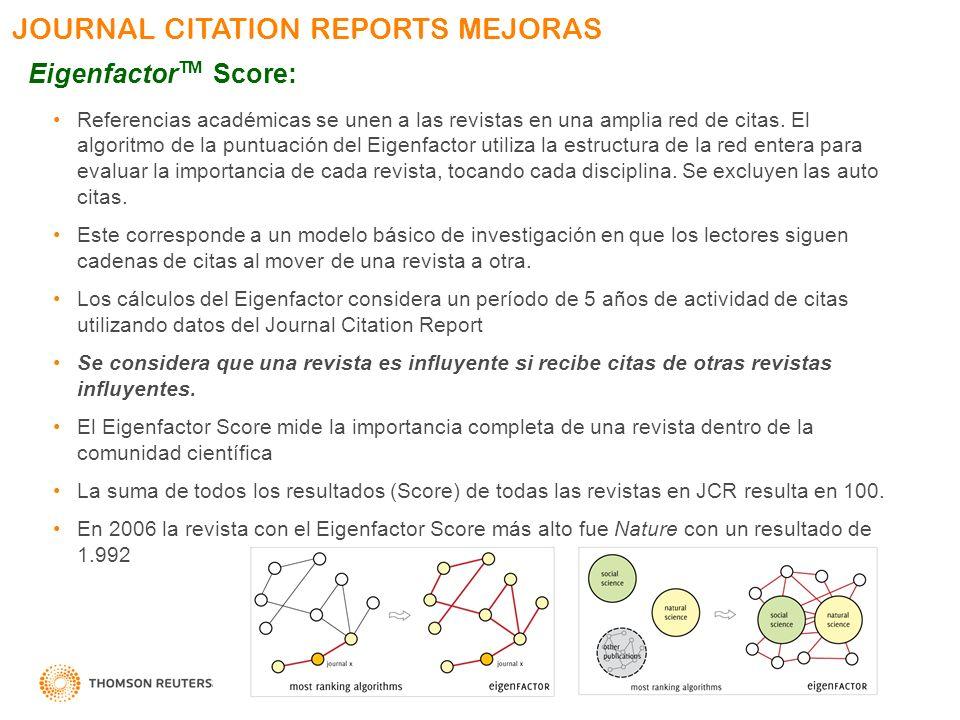 JOURNAL CITATION REPORTS MEJORAS Eigenfactor TM Score: Referencias académicas se unen a las revistas en una amplia red de citas. El algoritmo de la pu
