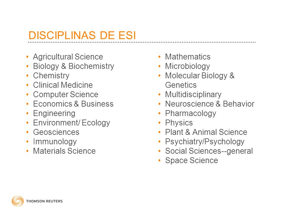 DISCIPLINAS DE ESI Agricultural Science Biology & Biochemistry Chemistry Clinical Medicine Computer Science Economics & Business Engineering Environme