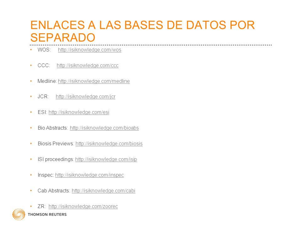 ENLACES A LAS BASES DE DATOS POR SEPARADO WOS: http://isiknowledge.com/woshttp://isiknowledge.com/wos CCC: http://isiknowledge.com/ccchttp://isiknowle
