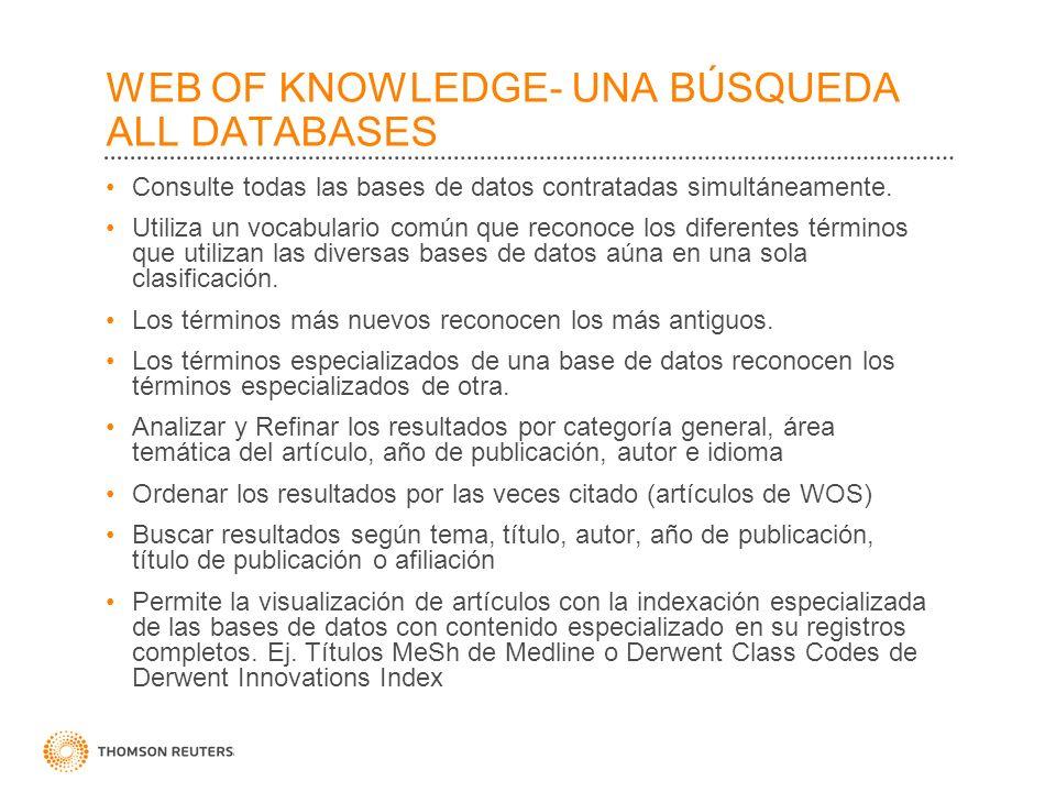 WEB OF KNOWLEDGE- UNA BÚSQUEDA ALL DATABASES Consulte todas las bases de datos contratadas simultáneamente. Utiliza un vocabulario común que reconoce