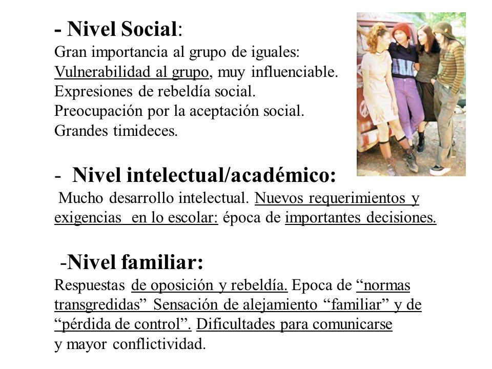 - Nivel Social: Gran importancia al grupo de iguales: Vulnerabilidad al grupo, muy influenciable. Expresiones de rebeldía social. Preocupación por la