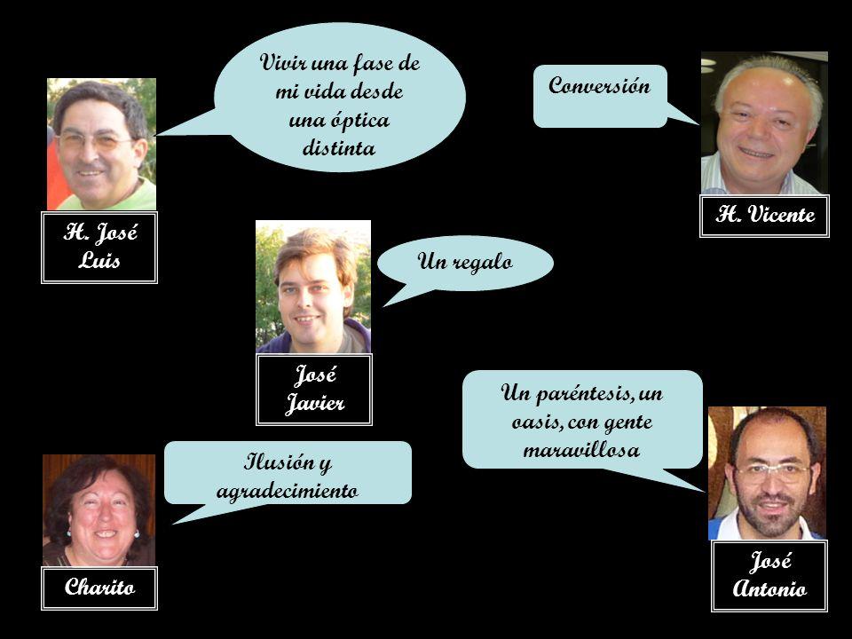 H. José Luis Charito José Javier José Antonio Vivir una fase de mi vida desde una óptica distinta Ilusión y agradecimiento Un regalo H. Vicente Conver