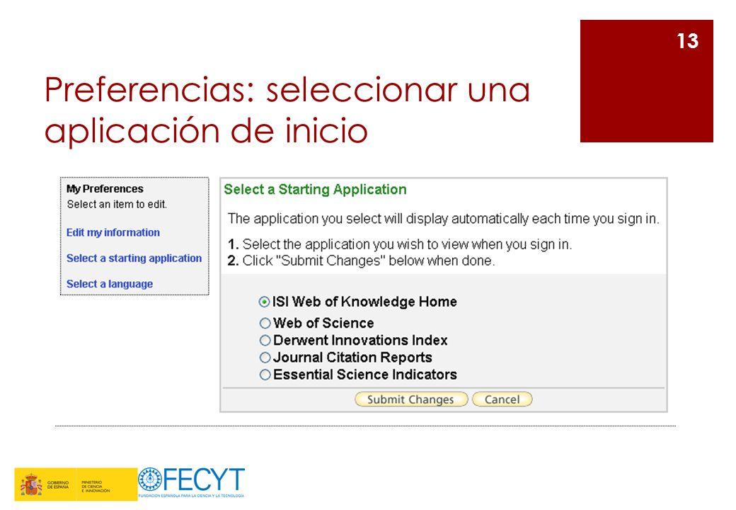 Preferencias: seleccionar una aplicación de inicio 13