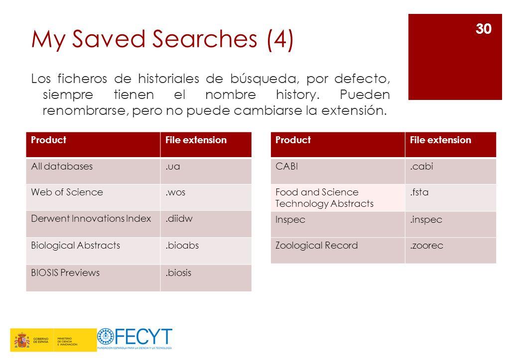 My Saved Searches (4) Los ficheros de historiales de búsqueda, por defecto, siempre tienen el nombre history.