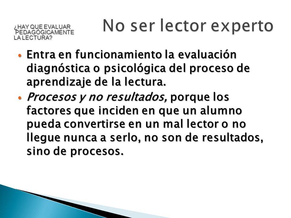 Entra en funcionamiento la evaluación diagnóstica o psicológica del proceso de aprendizaje de la lectura. Entra en funcionamiento la evaluación diagnó