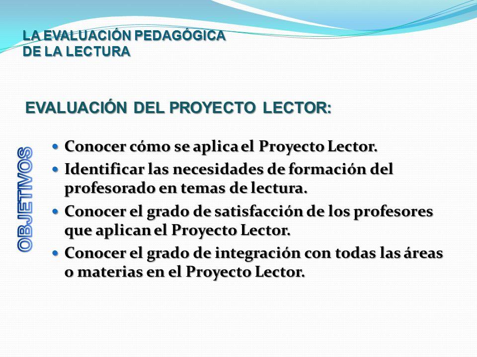 LA EVALUACIÓN PEDAGÓGICA DE LA LECTURA Conocer cómo se aplica el Proyecto Lector. Conocer cómo se aplica el Proyecto Lector. Identificar las necesidad