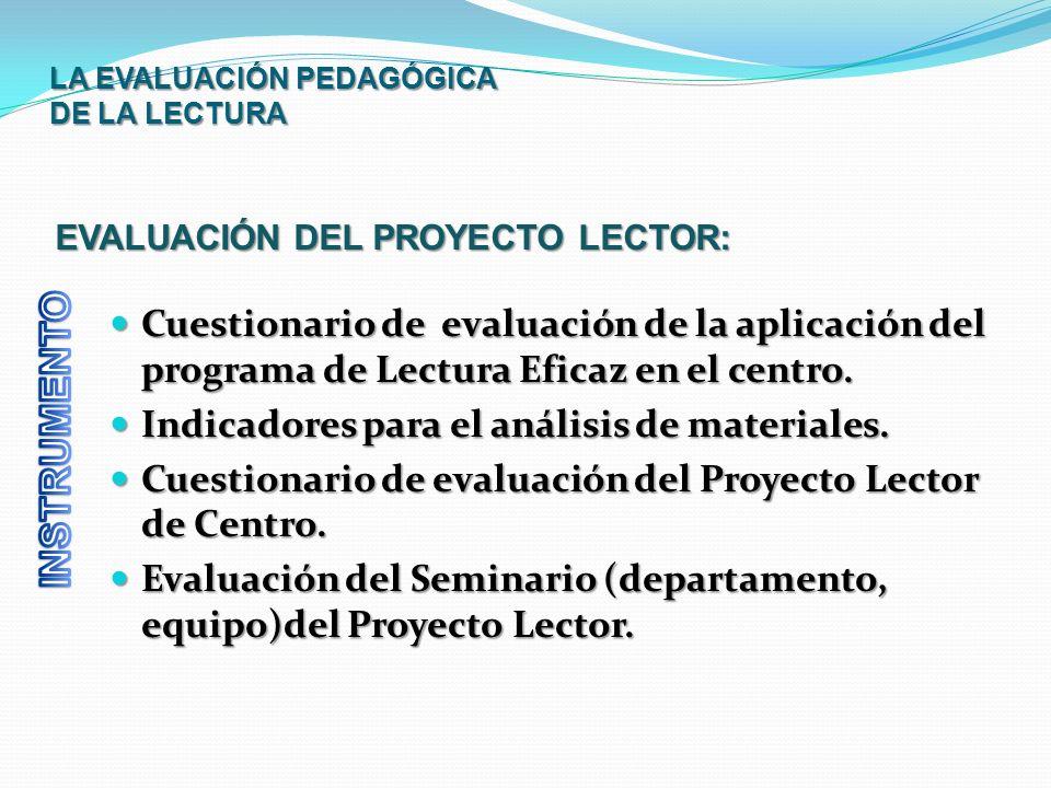 LA EVALUACIÓN PEDAGÓGICA DE LA LECTURA Cuestionario de evaluación de la aplicación del programa de Lectura Eficaz en el centro. Cuestionario de evalua