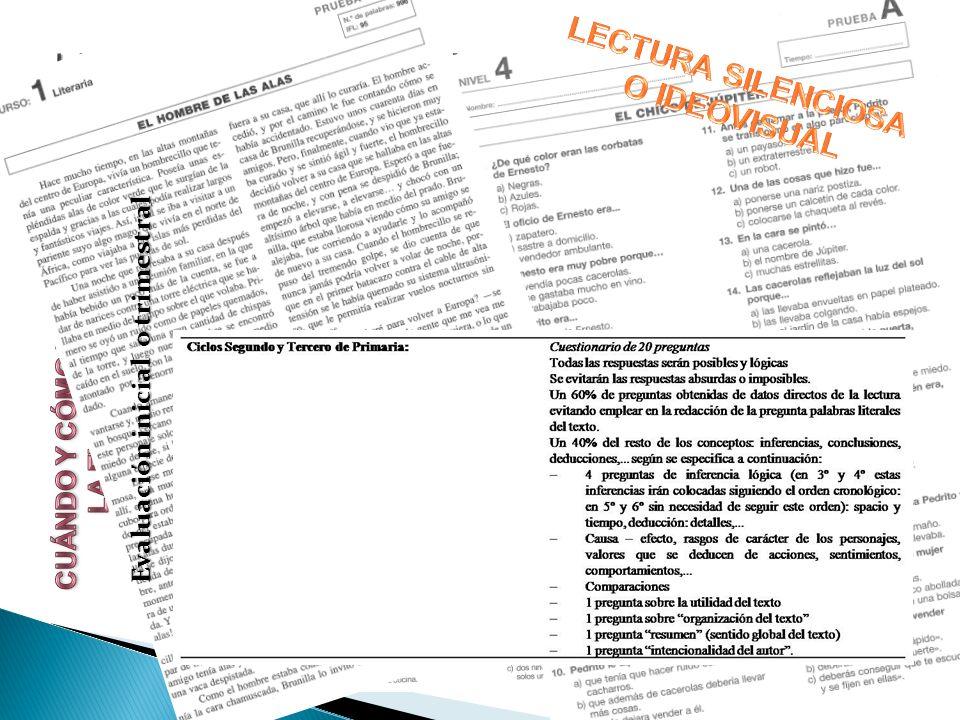 EVALUACIÓN PEDAGÓGICA DEL PROCESO LECTOR: Evaluación inicial o trimestral