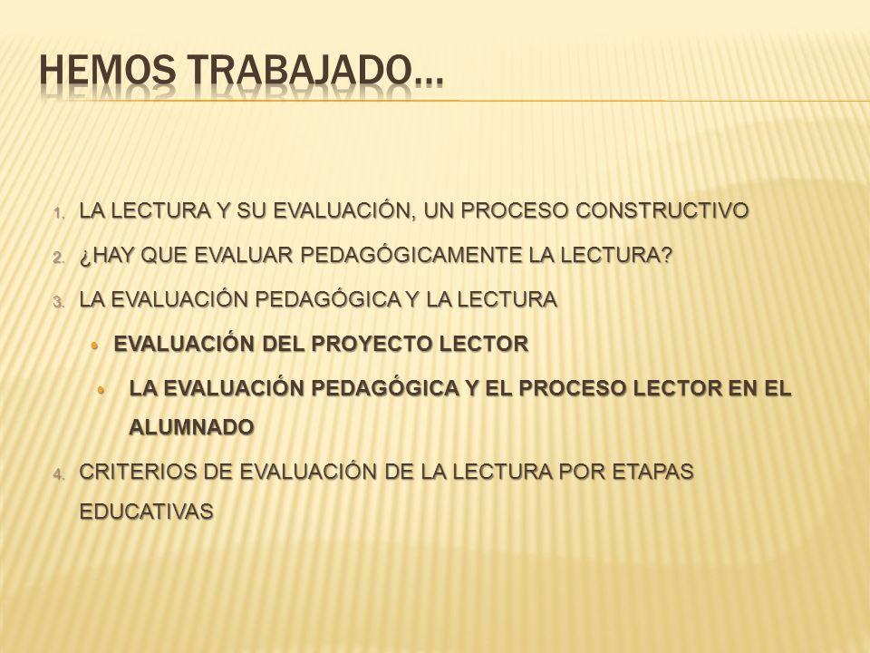 1. LA LECTURA Y SU EVALUACIÓN, UN PROCESO CONSTRUCTIVO 2. ¿HAY QUE EVALUAR PEDAGÓGICAMENTE LA LECTURA? 3. LA EVALUACIÓN PEDAGÓGICA Y LA LECTURA EVALUA