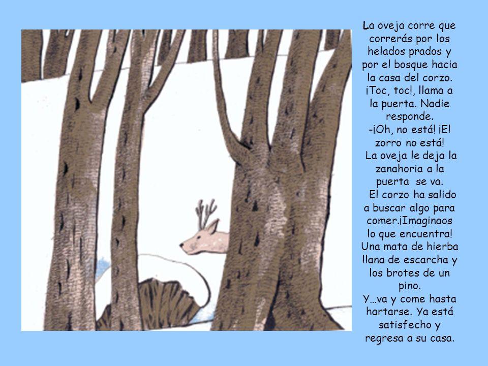 La oveja corre que correrás por los helados prados y por el bosque hacia la casa del corzo. ¡Toc, toc!, llama a la puerta. Nadie responde. -¡Oh, no es