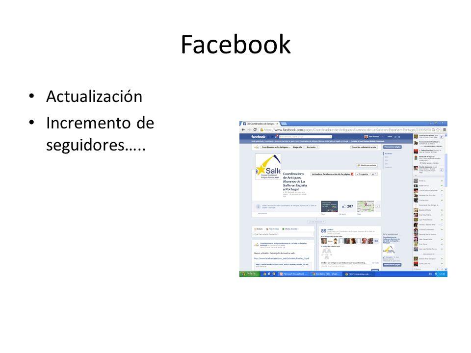 Facebook Actualización Incremento de seguidores…..