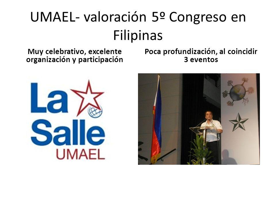UMAEL- valoración 5º Congreso en Filipinas Muy celebrativo, excelente organización y participación Poca profundización, al coincidir 3 eventos