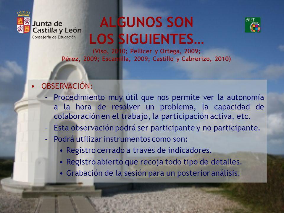ALGUNOS SON LOS SIGUIENTES… (Viso, 2010; Pellicer y Ortega, 2009; Pérez, 2009; Escamilla, 2009; Castillo y Cabrerizo, 2010) OBSERVACIÓN: –Procedimient