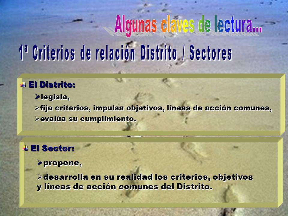 El Distrito: El Distrito: legisla, legisla, fija criterios, impulsa objetivos, líneas de acción comunes, fija criterios, impulsa objetivos, líneas de acción comunes, evalúa su cumplimiento.