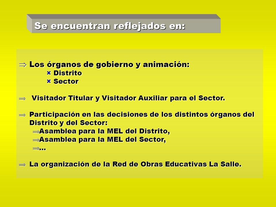 Se encuentran reflejados en: Los órganos de gobierno y animación: Los órganos de gobierno y animación: ×Distrito ×Sector Visitador Titular y Visitador Auxiliar para el Sector.