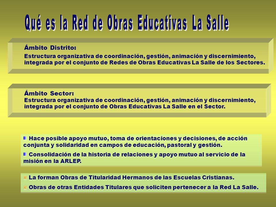 Ámbito Distrito: Estructura organizativa de coordinación, gestión, animación y discernimiento, integrada por el conjunto de Redes de Obras Educativas La Salle de los Sectores.