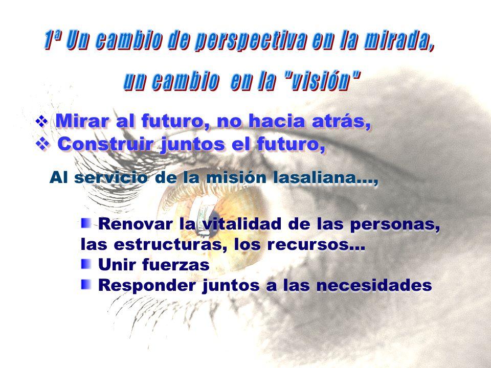 Al servicio de la misión lasaliana..., Mirar al futuro, no hacia atrás, Construir juntos el futuro, Construir juntos el futuro, Mirar al futuro, no hacia atrás, Construir juntos el futuro, Construir juntos el futuro, Renovar la vitalidad de las personas, las estructuras, los recursos...